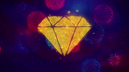 karát : Diamond Icon Symbol on Colorful Fireworks Particles. Object, Shape, Design, Text, Element, 4K Loop Animation.