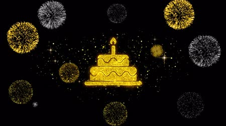 gateau chocolat : Birthday Cake Icon on Glitter Golden Particles Effect Firework. Object, Shape, Text, Design, Element, symbol 4K Animation.