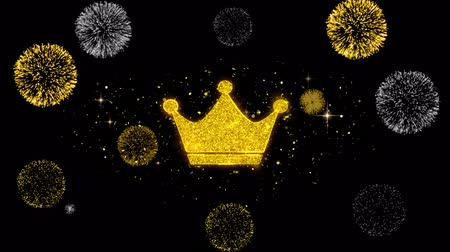 monarca : Queen Royalty Crown Icon on Glitter Golden Particles Effect Firework. Object, Shape, Text, Design, Element, symbol 4K Animation. Stock Footage