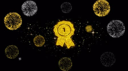 メダル : Ribbon Award Icon on Glitter Golden Particles Effect Firework. Object, Shape, Text, Design, Element, symbol 4K Animation.