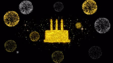 fırınlama : Birthday Cake Icon on Glitter Golden Particles Effect Firework. Object, Shape, Text, Design, Element, symbol 4K Animation.