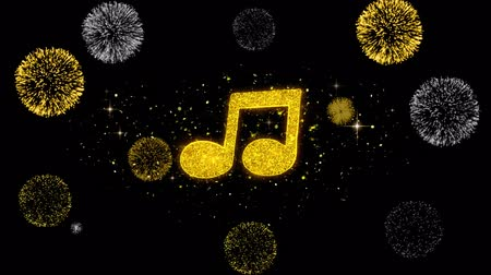 skladatel : Music Song Chord Icon on Glitter Golden Particles Effect Firework. Object, Shape, Text, Design, Element, symbol 4K Animation.