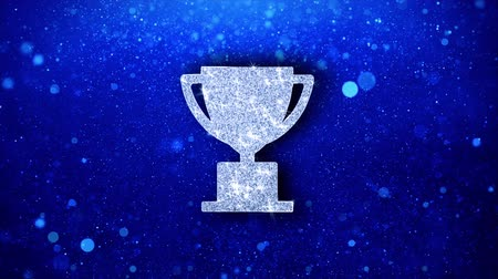 madalya : Trophy Win Cup Icon White Blinking Glitter Glowing Shine on Blue Particles. Shape, Web, Text , Design, Element, Symbol 4K Loop Animation.