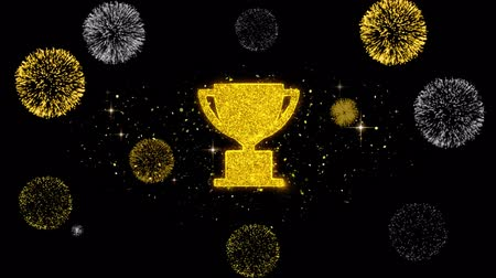 čest : Trophy Win Cup Icon on Glitter Golden Particles Effect Firework. Object, Shape, Text, Design, Element, symbol 4K Animation.