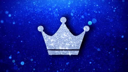 премия : Queen Royalty Crown Icon White Blinking Glitter Glowing Shine on Blue Particles. Shape, Web, Text , Design, Element, Symbol 4K Loop Animation.