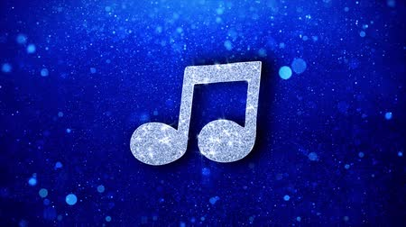 notation : Music Song Chord Icon White Blinking Glitter Glowing Shine on Blue Particles. Shape, Web, Text , Design, Element, Symbol 4K Loop Animation.