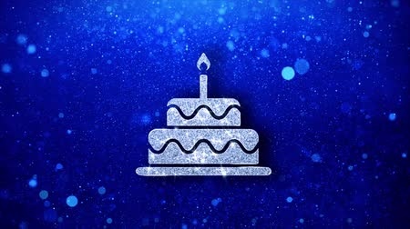 çikolata : Birthday Cake Icon White Blinking Glitter Glowing Shine on Blue Particles. Shape, Web, Text , Design, Element, Symbol 4K Loop Animation.