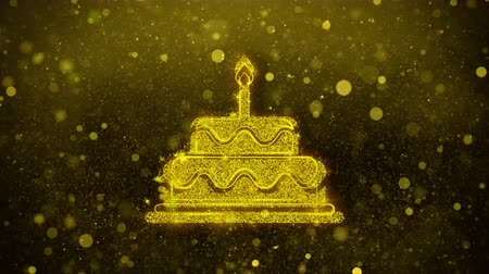 buttercream : Birthday Cake Icon Golden Glitter Glowing Lights Shine Particles. Object, Shape, Web, Design, Element, symbol 4K Loop Animation.