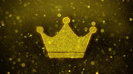 rytíř : Queen Royalty Crown Icon Golden Glitter Glowing Lights Shine Particles. Object, Shape, Web, Design, Element, symbol 4K Loop Animation.