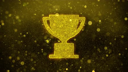 medalha : Trophy Win Cup Icon Golden Glitter Glowing Lights Shine Particles. Object, Shape, Web, Design, Element, symbol 4K Loop Animation.