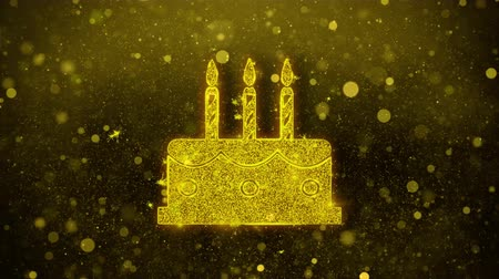 окропляет : Birthday Cake Icon Golden Glitter Glowing Lights Shine Particles. Object, Shape, Web, Design, Element, symbol 4K Loop Animation.