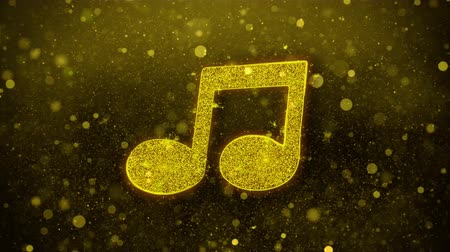 hangjegykulcs : Music Song Chord Icon Golden Glitter Glowing Lights Shine Particles. Object, Shape, Web, Design, Element, symbol 4K Loop Animation.