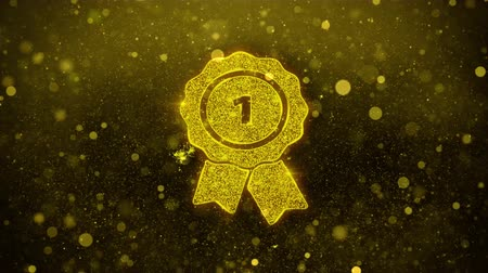 bereiken : Ribbon Award Icon Golden Glitter Gloeiende lichten schijnen deeltjes. Object, Shape, Web, Design, Element, symbool 4K Loop Animation.