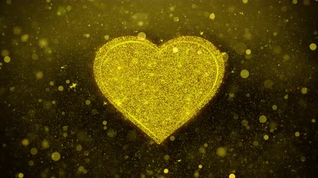 vybírání : Love Heart Icon Golden Glitter Glowing Lights Shine Particles. Object, Shape, Web, Design, Element, symbol 4K Loop Animation. Dostupné videozáznamy