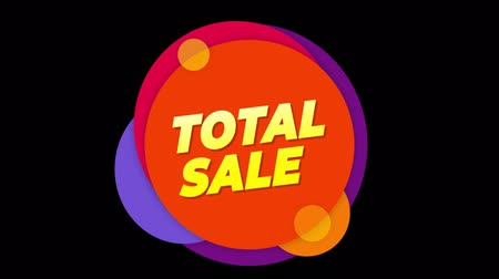 celkový : Total Sale Flat Style Banner Sticker Colorful Label Popup Promotional Animation. Sale, Discounts, Deals, Special Offers. Green Screen and Alpha Matte Dostupné videozáznamy