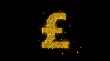 libras : Pound Sterling Currency Icon Sparks Glitter Particles on Black Background. Shape, Design, Text, Element, Symbol Alpha Channel 4K Loop.