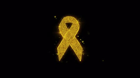 prim : Ribbon Icon Sparks Glitter Particles on Black Background. Shape, Design, Text, Element, Symbol Alpha Channel 4K Loop.