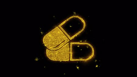 adagolás : Capsule Medicine Tablet Icon Sparks Glitter Particles on Black Background. Shape, Design, Text, Element, Symbol Alpha Channel 4K Loop. Stock mozgókép