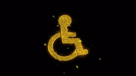 инвалид : Disabled Handicap Icon Sparks Glitter Particles on Black Background. Shape, Design, Text, Element, Symbol Alpha Channel 4K Loop.