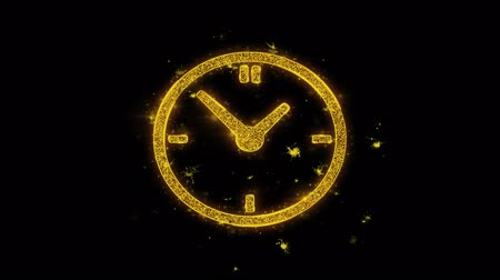 cronômetro : Clock Watch Icon Sparks Glitter Particles on Black Background. Shape, Design, Text, Element, Symbol Alpha Channel 4K Loop.