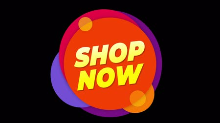 ilan : Shop Now Flat Style Banner Sticker Colorful Label Popup Promotional Animation. Sale, Discounts, Deals, Special Offers. Green Screen and Alpha Matte Stok Video