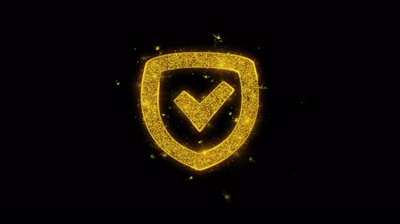 антивирус : Security Shield Icon Sparks Glitter Particles on Black Background. Shape, Design, Text, Element, Symbol Alpha Channel 4K Loop. Стоковые видеозаписи