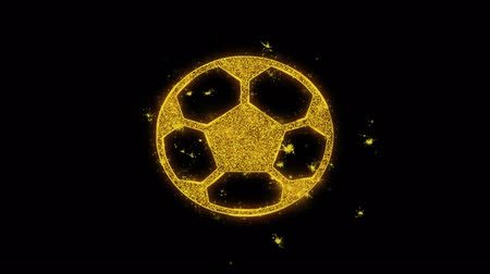 jogador de futebol : Soccer Ball Football Icon Sparks Glitter Particles on Black Background. Shape, Design, Text, Element, Symbol Alpha Channel 4K Loop.