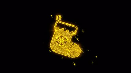 świety mikołaj : Christmas Stocking Pictogram Sock Icon Sparks Glitter Particles on Black Background. Shape, Design, Text, Element, Symbol Alpha Channel 4K Loop.