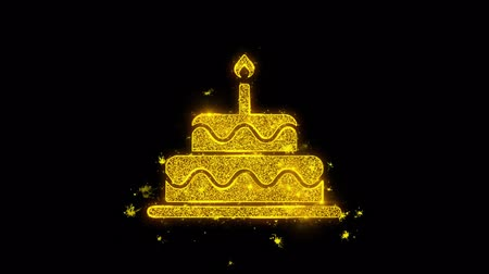 buttercream : Birthday Cake Icon Sparks Glitter Particles on Black Background. Shape, Design, Text, Element, Symbol Alpha Channel 4K Loop.