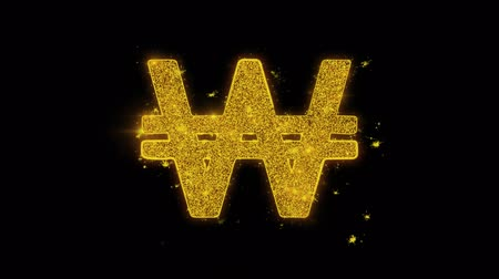 won : South Korean Won Currency Icon Sparks Glitter Particles on Black Background. Shape, Design, Text, Element, Symbol Alpha Channel 4K Loop. Stock Footage