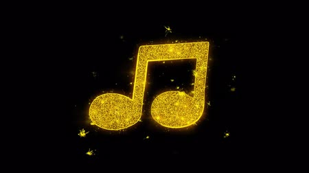 hangjegykulcs : Music Song Chord Icon Sparks Glitter Particles on Black Background. Shape, Design, Text, Element, Symbol Alpha Channel 4K Loop.