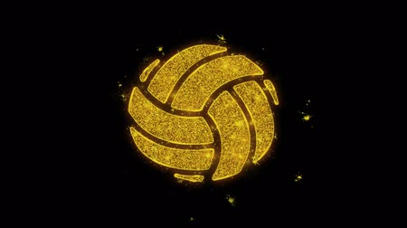 beach volleyball : Play Volleyball Game Ball Icon Sparks Glitter Particles on Black Background. Shape, Design, Text, Element, Symbol Alpha Channel 4K Loop. Stock Footage
