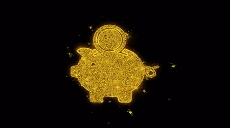 save the animals : Piggy Bank Save Money Icon Sparks Glitter Particles on Black Background. Shape, Design, Text, Element, Symbol Alpha Channel 4K Loop. Stock Footage