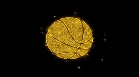 volleyball : Basketball Ball Icon Sparks Glitter Particles on Black Background. Shape, Design, Text, Element, Symbol Alpha Channel 4K Loop.