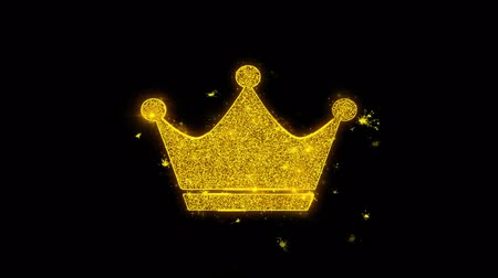 королева : Queen Royalty Crown Icon Sparks Glitter Particles on Black Background. Shape, Design, Text, Element, Symbol Alpha Channel 4K Loop.