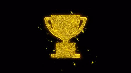 madalya : Trophy Win Cup Icon Sparks Glitter Particles on Black Background. Shape, Design, Text, Element, Symbol Alpha Channel 4K Loop.
