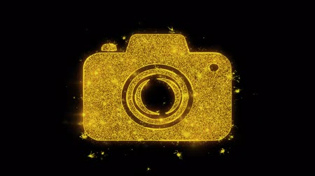 impressão digital : Camera Photography Icon Sparks Glitter Particles on Black Background. Shape, Design, Text, Element, Symbol Alpha Channel 4K Loop. Stock Footage