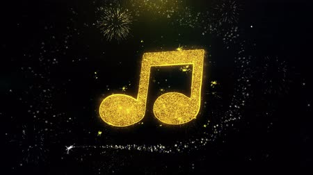 hangjegykulcs : Music Song Chord Icon on Gold Glitter Particles Spark Exploding Fireworks Display . Object, Shape, Text, Design, Element, Symbol 4K Animation.