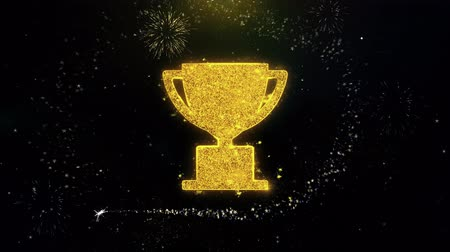 madalya : Trophy Win Cup Icon on Gold Glitter Particles Spark Exploding Fireworks Display . Object, Shape, Text, Design, Element, Symbol 4K Animation.