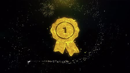 madalya : Ribbon Award Icon on Gold Glitter Particles Spark Exploding Fireworks Display . Object, Shape, Text, Design, Element, Symbol 4K Animation.