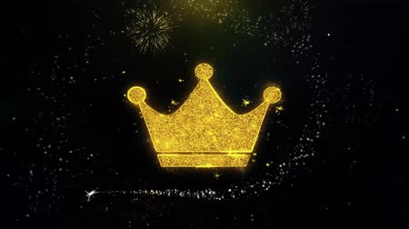 imparator : Queen Royalty Crown Icon on Gold Glitter Particles Spark Exploding Fireworks Display . Object, Shape, Text, Design, Element, Symbol 4K Animation.