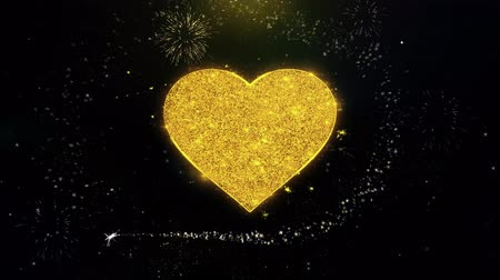 vonk : Love Heart Icon on Gold Glitter Particles Spark Exploding Fireworks Display . Object, Shape, Text, Design, Element, Symbol 4K Animation.