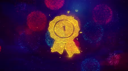 przywództwo : Ribbon Award Icon Symbol on Colorful Fireworks Particles. Object, Shape, Design, Text, Element, 4K Loop Animation. Wideo