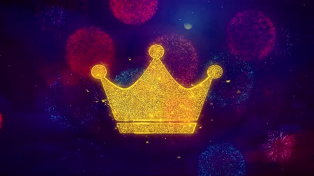 imparator : Queen Royalty Crown Icon Symbol on Colorful Fireworks Particles. Object, Shape, Design, Text, Element, 4K Loop Animation.