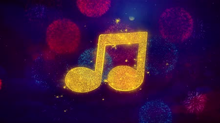 hangjegykulcs : Music Song Chord Icon Symbol on Colorful Fireworks Particles. Object, Shape, Design, Text, Element, 4K Loop Animation.