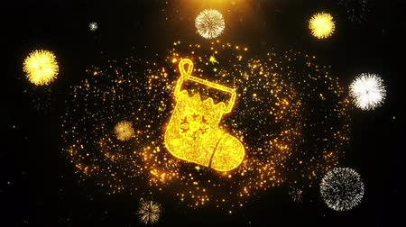 świety mikołaj : Christmas Stocking Pictogram Sock Icon on Firework Display Explosion Particles. Object, Shape, Text, Design, Element, Symbol 4K Animation.