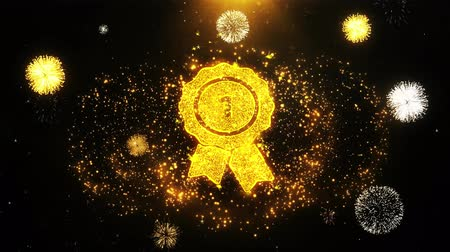 チャンプ : Ribbon Award Icon on Firework Display Explosion Particles. Object, Shape, Text, Design, Element, Symbol 4K Animation. 動画素材