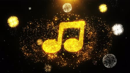 hangjegykulcs : Music Song Chord Icon on Firework Display Explosion Particles. Object, Shape, Text, Design, Element, Symbol 4K Animation.