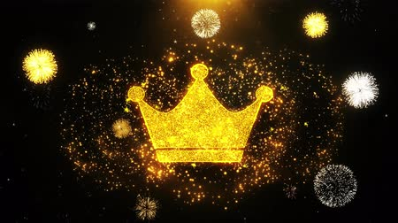 monarca : Queen Royalty Crown Icon on Firework Display Explosion Particles. Object, Shape, Text, Design, Element, Symbol 4K Animation. Stock Footage