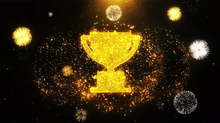 madalya : Trophy Win Cup Icon on Firework Display Explosion Particles. Object, Shape, Text, Design, Element, Symbol 4K Animation.